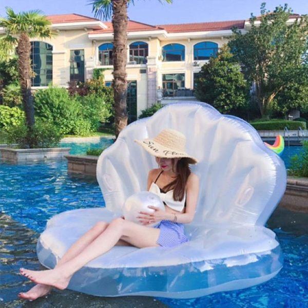 泳圈玩具貝殼浮床泳圈充氣躺椅坐騎浮排成人游泳圈大人女網紅海灘婚紗攝影 全館免運