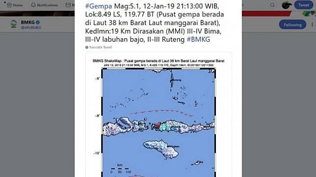 Peta lokasi gempa berkekuatan 5,1 SR di Manggarai Barat dan terasa hingga Labuan Bajo pada Sabtu (12/1). [Twitter/BMKG]