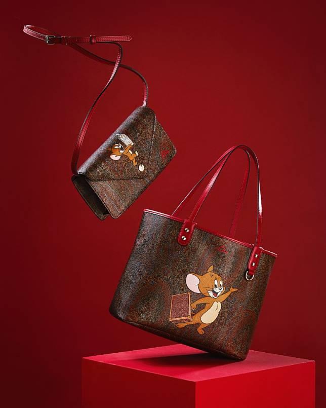 ETRO × TOM AND JERRY Crossbody Bag(左)、Shopping Bag(右)(互聯網)