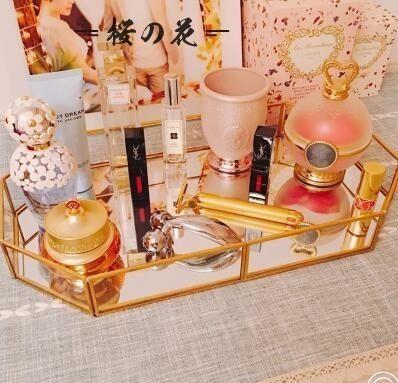 鏡子化妝鏡臺式 公主鏡書桌單面臺面鏡大號托盤化妝品收納盒隨身