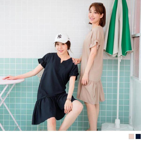 《DA6591》不易皺荷葉拼接袖口裙擺洋裝(依依佩佩推薦款 OrangeBear