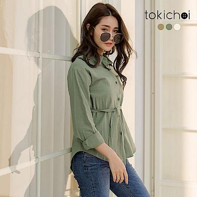 棉麻透氣材質設計綁帶可自由調整高度修飾腰線簡單搭配窄管褲即可穿出率性時尚的休閒好感實際顏色請參考平拍圖較為準確