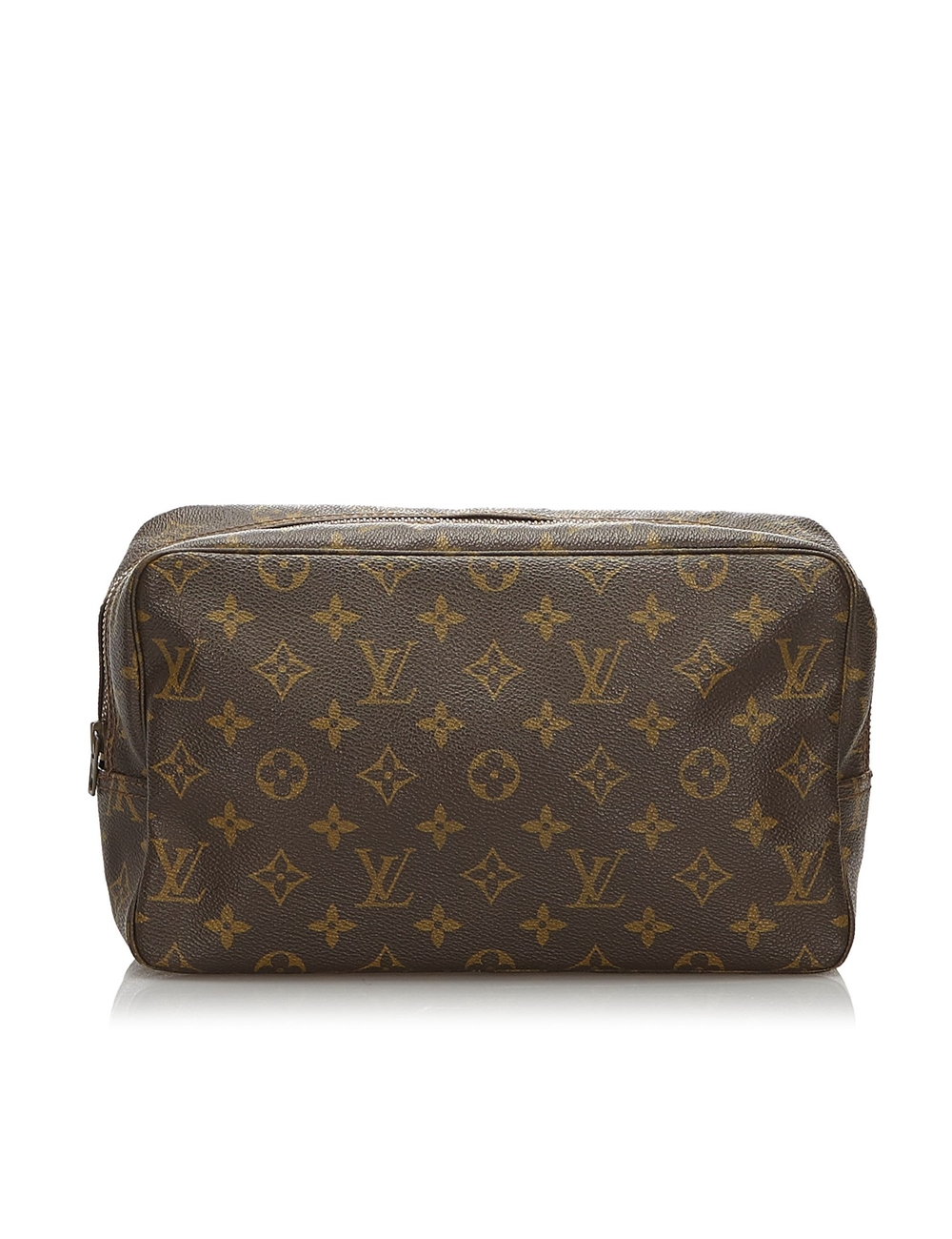 The Trousse Toilette 28 features a monogram canvas body, a top zip closure, and interior slip pocket