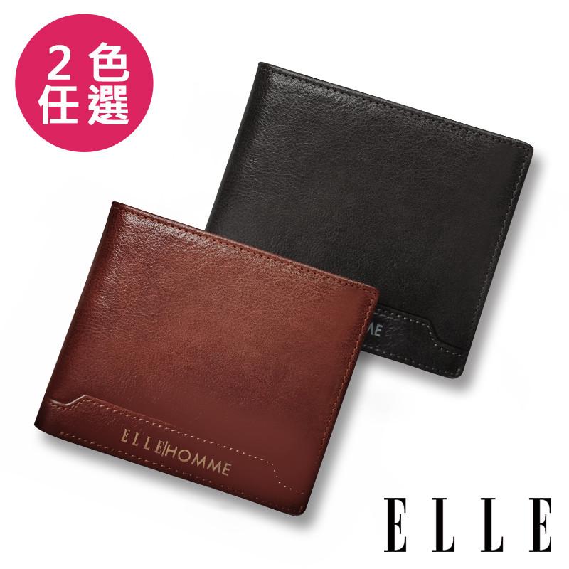 ELLE HOMME 壓紋Logo系列-3卡上翻窗格真皮皮夾/短夾/零錢袋-EL207047