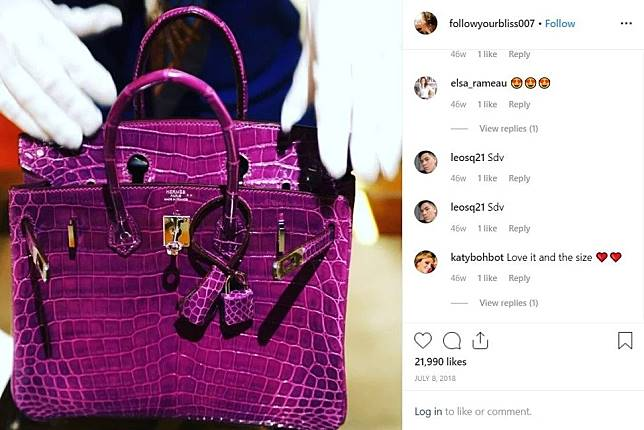 A picture of a Birkin bag that Azura posted on Instagram.