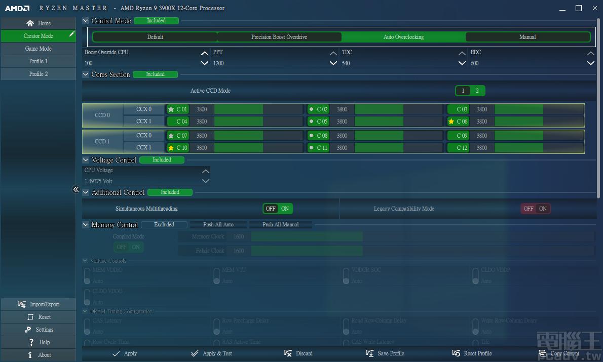 ▲ Ryzen Master Control Mode 分為 Default、Precision Boost Overdrive、Auto Overclocking、Manual 等 4 種。