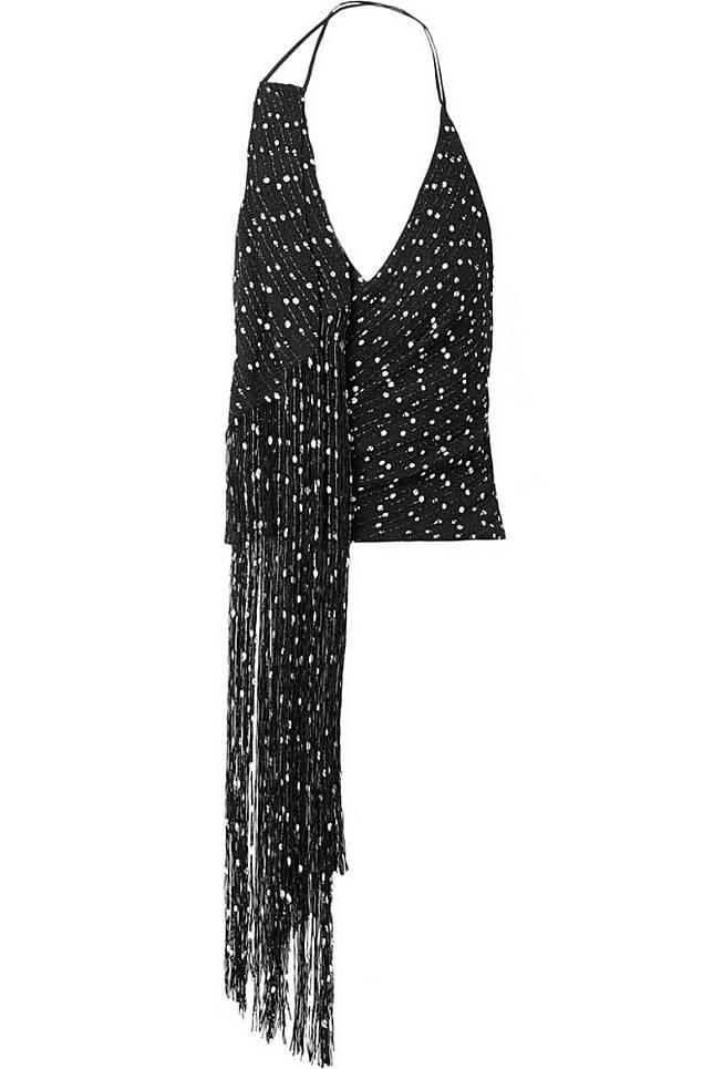 JACQUEMUS黑色圓點圖案流蘇掛頸上衣(互聯網)