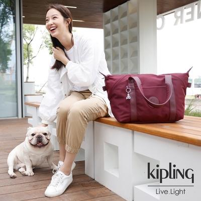 Kipling 霧感胭脂紅手提側背包-ART