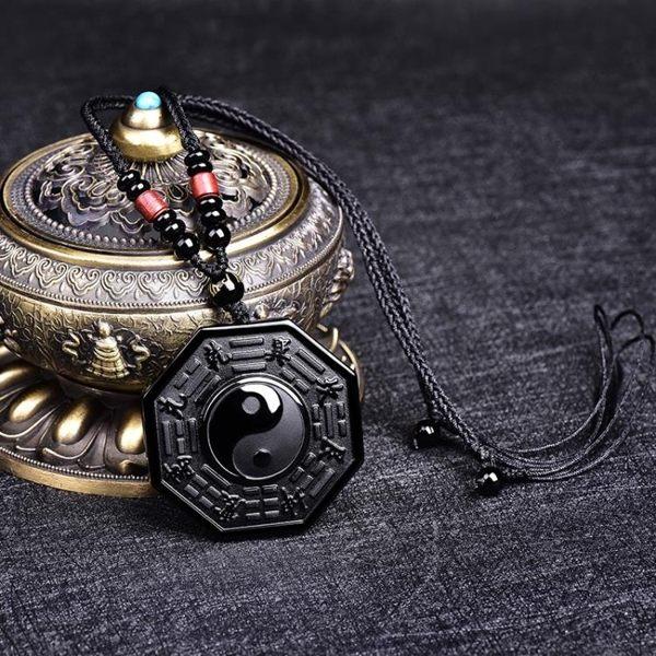 開光護身符陰陽魚太極八卦吊墜黑曜石項鍊男士掛墜九宮八卦牌飾品第七公社
