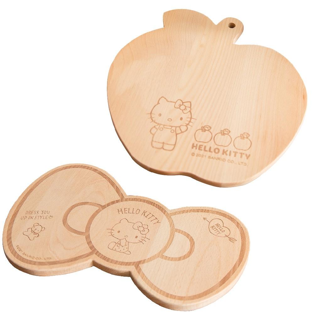 [三麗鷗] 三麗鷗 Hello kitty 蝴蝶結造型 蘋果造型 兩種造型 櫸木 砧板/擺盤 正版授權【網狐家居】