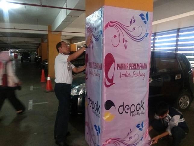 Penerapan kebijakan ladies parking oleh Pemerintah Kota Depok. Foto Dok Pemkot Depok.