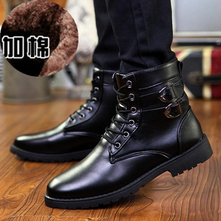 冬季馬丁靴男士棉鞋高幫雪地軍靴男靴子工裝皮靴加絨保暖男鞋潮鞋