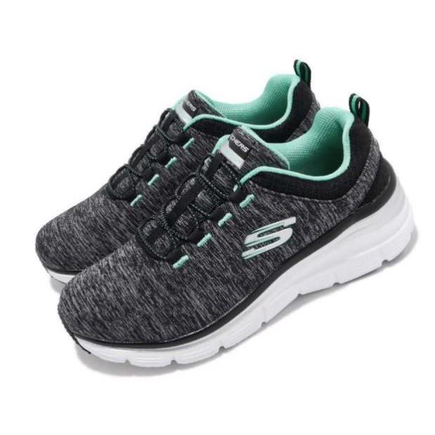 SKECHERS FASHION FIT 黑綠運動鞋 女款-NO.12716BKTQ