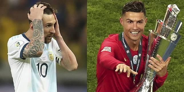 Lionel Messi yang gagal di Copa America 2019 mengalami nasib yang kontras dengan Cristiano Ronaldo yang sukses di UEFA Nations League 2019 (c) AP Photo