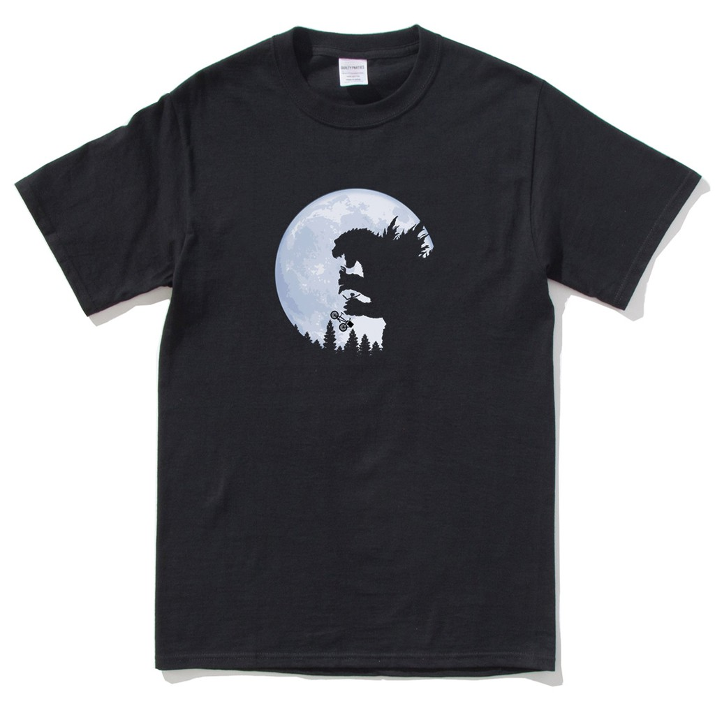 GODZILLA EATING ET AND KID 短袖T恤 黑色日本酷斯拉哥吉拉吃ET浮世繪藝妓拉麵日文怪獸