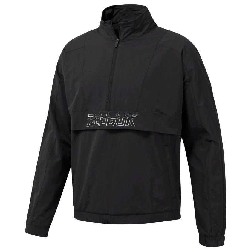 REEBOK MEET YOU THERE WOVEN 1/2 ZIP 男裝 外套 慢跑 訓練 風衣 舒適 透氣 黑【運動世界】EC0818。人氣店家運動世界的【男性服飾】、【Reebok】有最棒的商