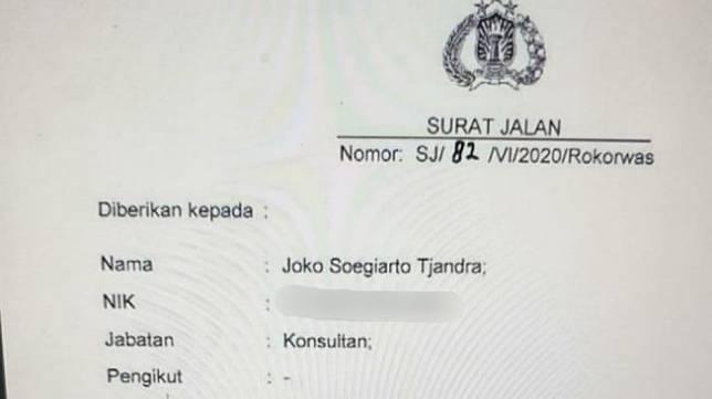 Diduga Surat Jalan untuk buronan Djoko Tjandra.