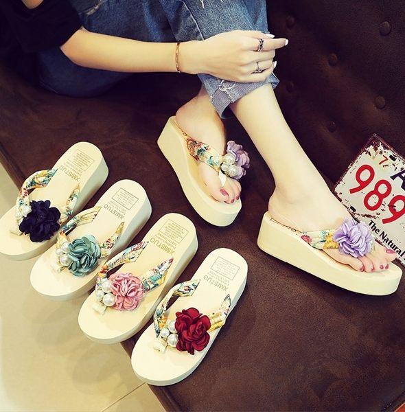 沙灘拖鞋女厚底高跟涼拖女海邊防滑度假花朵坡跟人字拖 巴黎時尚