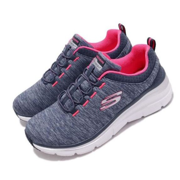 SKECHERS FASHION FIT 藍粉運動鞋 女款-NO.12716NVHP