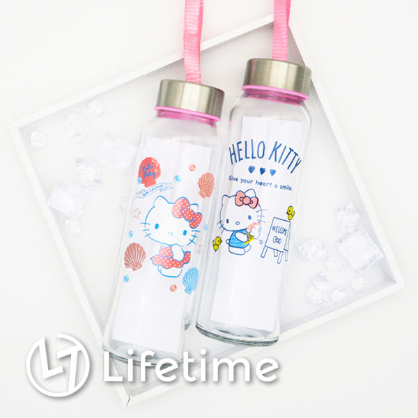 Kitty玻璃冷水瓶300ml 採耐熱旋轉式不鏽鋼瓶蓋 耐溫範圍:0度~120度