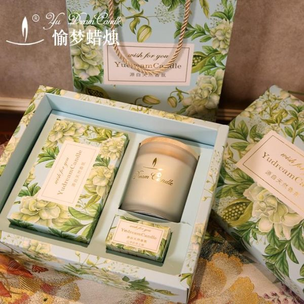 蠟燭香薰ins伴手禮生日禮盒新娘回禮香薰蠟燭禮盒玻璃杯香氛蠟燭進口精油