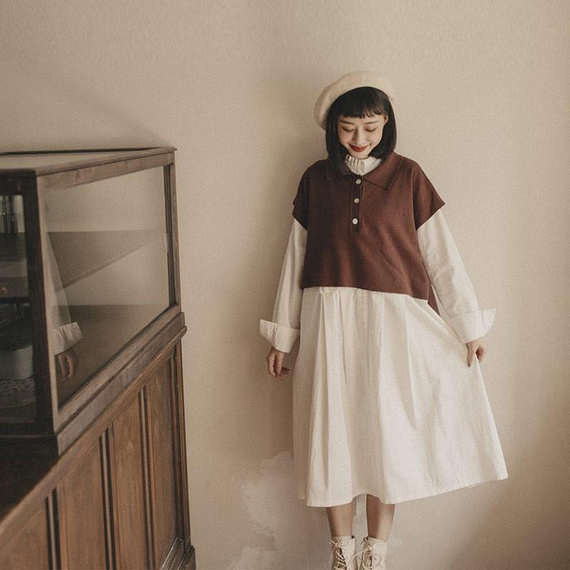 花邊立領設計細褶造型長洋裝氣質的花邊立領設計精緻細褶點綴素面的洋裝一件式輕鬆穿著搭配皮鞋和小包包日系清新的文藝少女