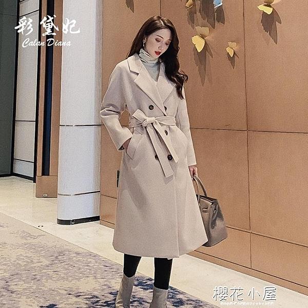 毛呢外套女休閒中長款韓版新品秋冬流行女裝呢子大衣