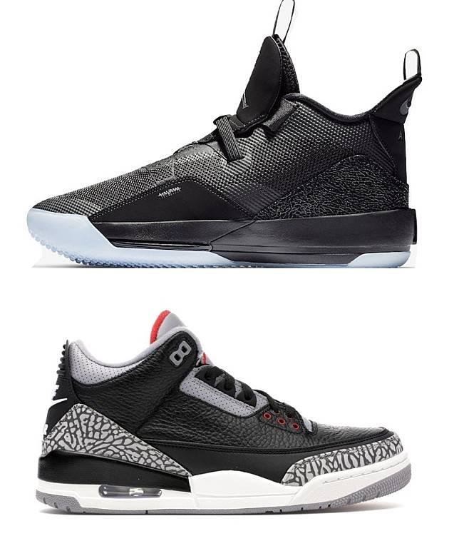 去年推出的Air Jordan XXIII,採用FastFit技術及Flight Plate碳纖維板科技打造,鞋舌設計及鞋跟「NIKE AIR」標誌都是向Air Jordan 3致敬。(互聯網)