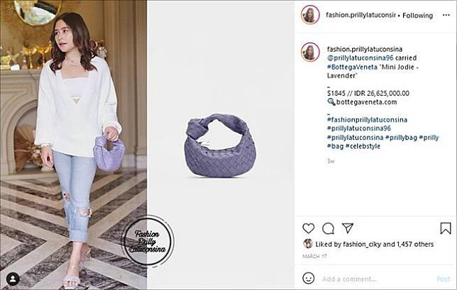 Artis pakai tas mahal mirip anyaman. (Instagram/@fashion.prillylatuconsina)