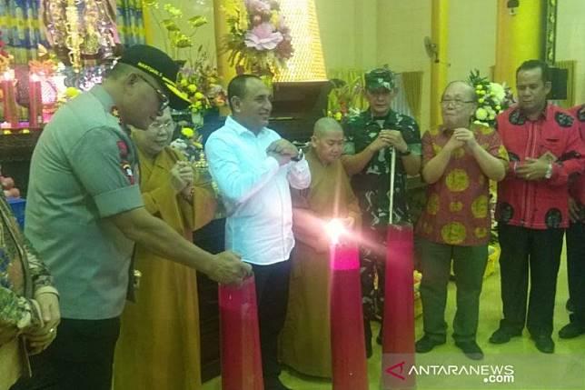 Kapolda Sumut mengecek pengamanan vihara di Medan