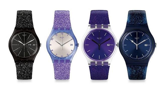 Swatch Glitter系列,備有紫、淺紫、藍及黑色4種顏色。(互聯網)