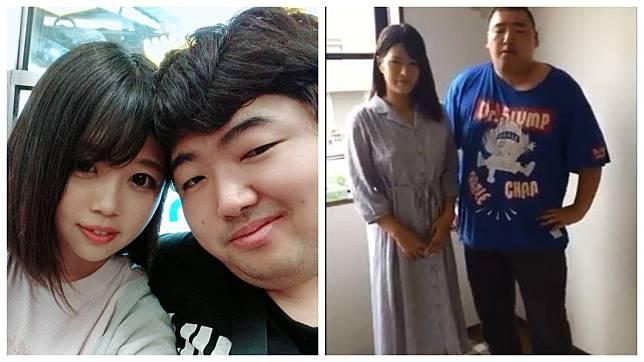 日本1名體重超過120公斤宅男直播主,竟然先後交了2名正妹女友。(圖/翻攝自推特)