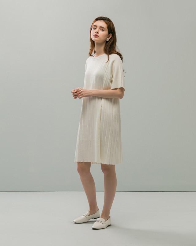 MEIERQ+百摺針織短洋裝