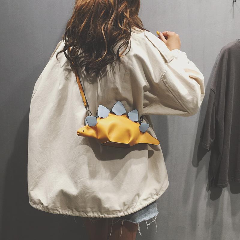 上新小包包斜挎包酷潮女夏天街頭搞怪恐龍單肩包可愛少女萌斜挎包
