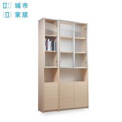 【城市家居-綠的傢俱集團】簡約質感玻璃門書櫃兩件組-橡木色(收納櫃/置物櫃)