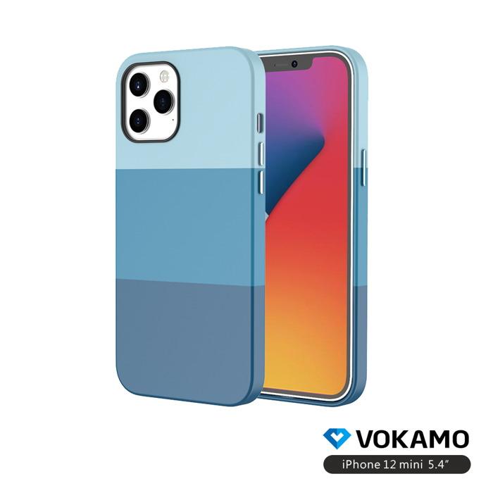 VOKAMO Colour iPhone 12 mini (5.4吋)專用 幻彩漸層拼接超細纖維內襯手機保護殼(3色