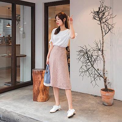 純色蕾絲雕花A字中長裙-OB大尺碼