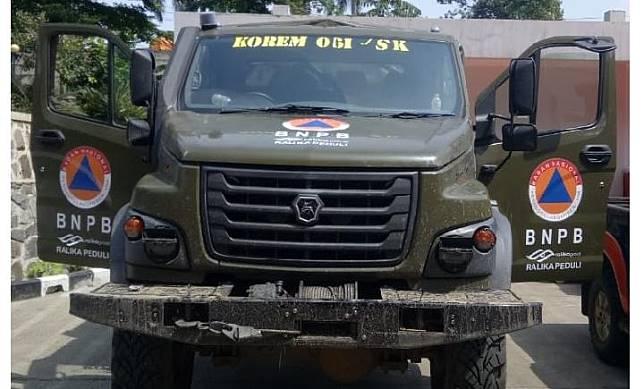 Truk Gorkovsky Avtomobilny Zavod (GAZ) Sadko Ural 6 x 6 jadi andalan BNPB menembus medan berat. Dok BNPB