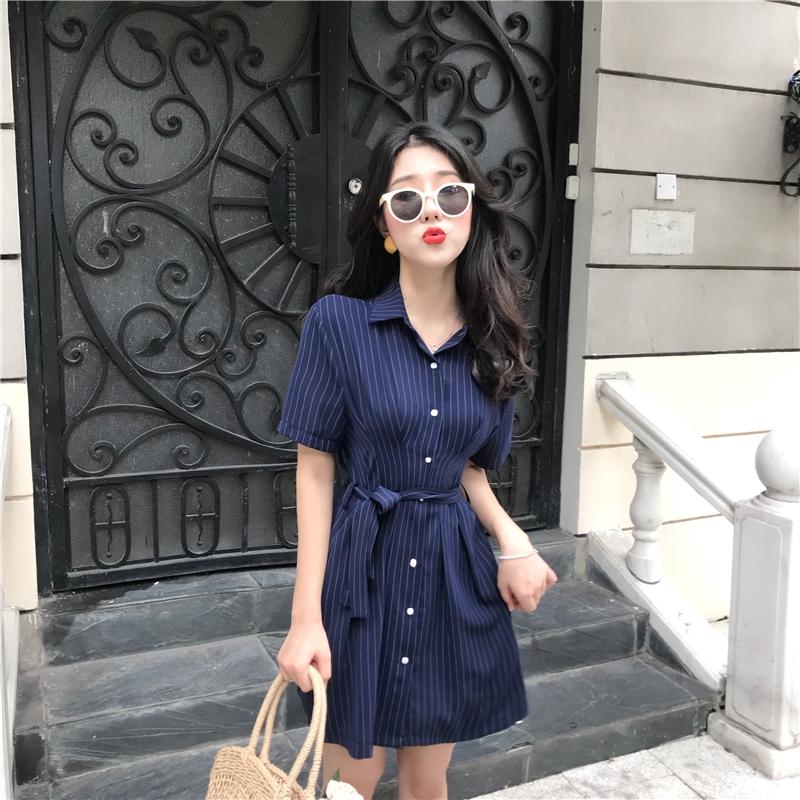 夏季韓版時尚氣質顯瘦收腰POLO領短袖小心機條紋連衣裙閨蜜襯衫裙269