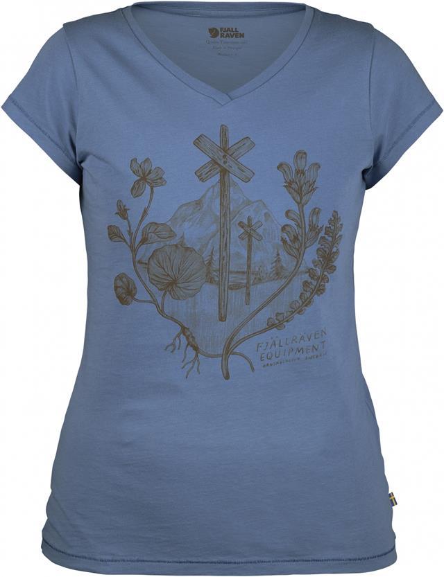 Fjallraven 瑞典北極狐 有-機棉短袖T恤/V領棉T/旅遊 Emblem T-Shirt 女款 89788 519 山脊藍。運動,戶外與休閒人氣店家台北山水戶外用品專門店的所有上架商品、女性服