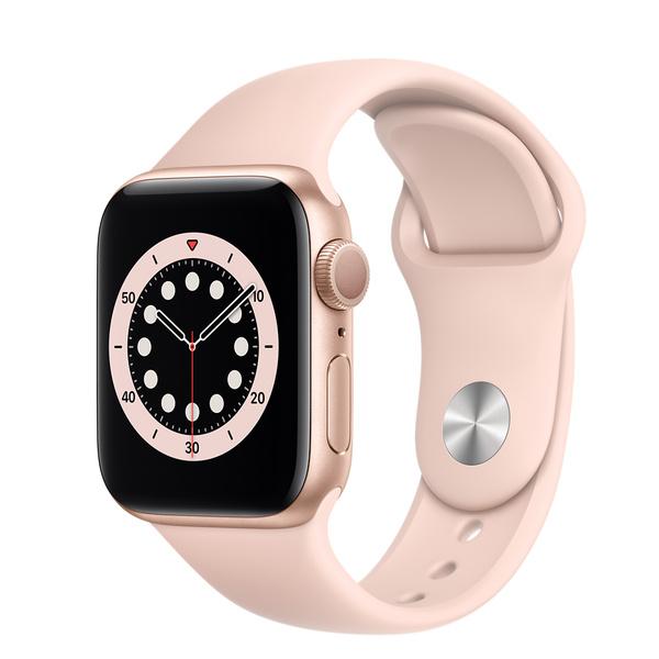 Apple Watch Series 6 (GPS);40 公釐金色鋁金屬錶殼;粉沙色運動型錶帶 - 標準