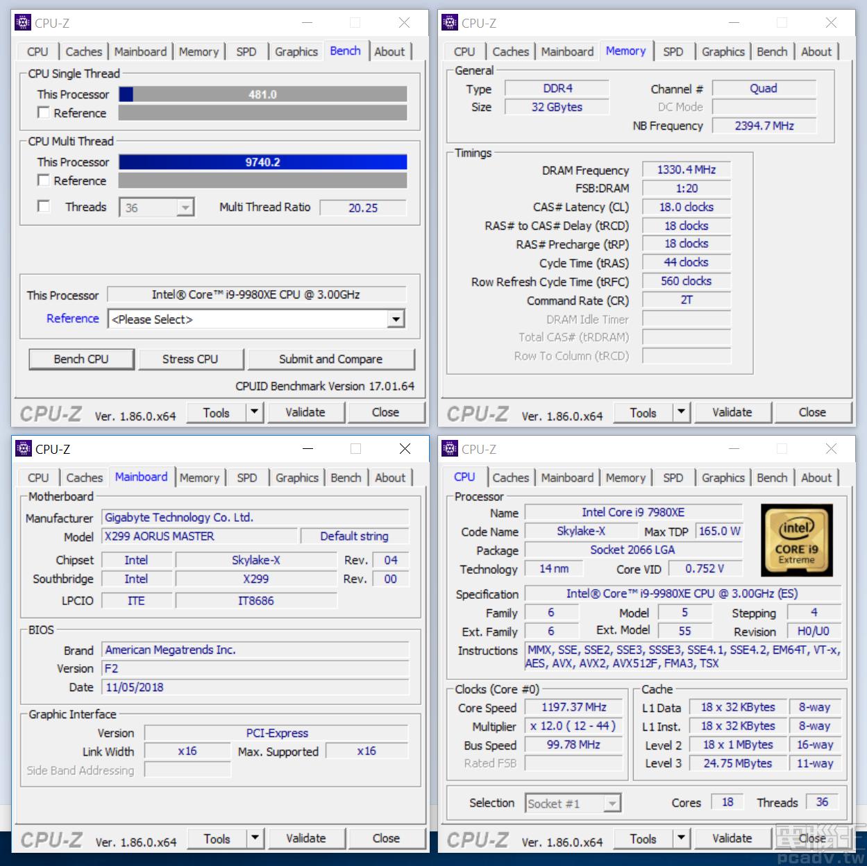 Core i9-9980XE CPU-Z 單執行緒為 481 分、多執行緒為 9740.2 分。(下方圖片均為 Core i9-9980XE 成績)
