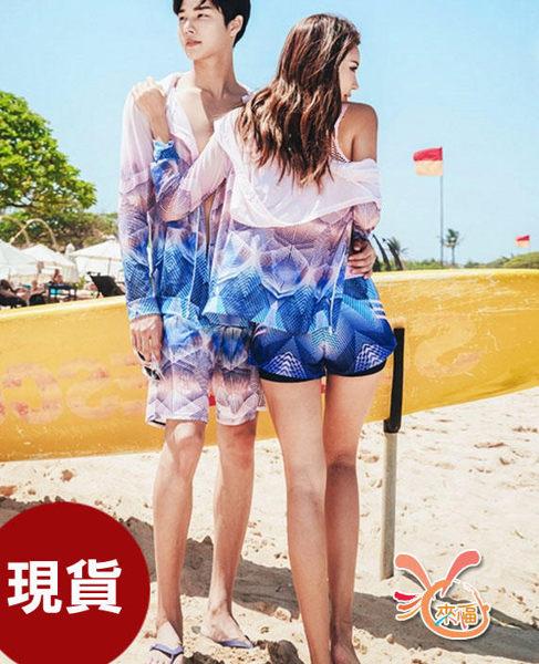 草魚妹-V318泳衣單外套薄透韓系外套情侶泳衣游泳衣泳裝正品,單外套男售價990元