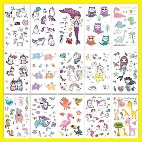 春季上新 15張兒童紋身貼紙貼畫防水男女持久韓國健康環保可愛卡通兒童貼紙
