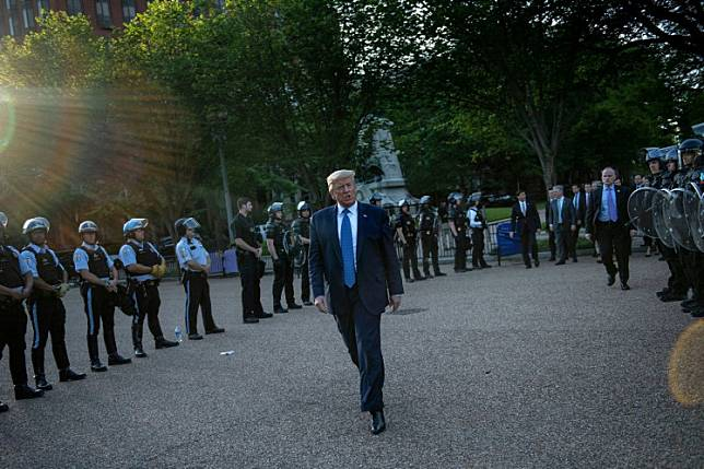 US President Donald Trump leaves the White House on foot to go to St John's Episcopal church across Lafayette Park in Washington, DC on Monday.President Donald Trump wants the US military to take the lead in stopping violent race protests, making the Pentagon increasingly vulnerable to accusations of being a tool for his political goals.