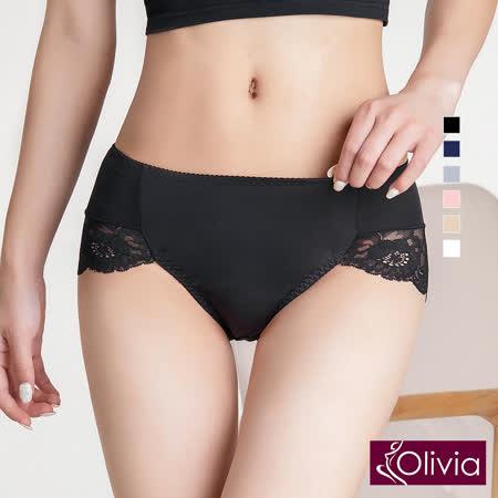 【Olivia】性感高叉牛奶絲蕾絲高腰內褲-黑色