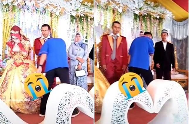 Usai memeluk sang pengantin wanita, pria itu langsung menyium tangan si pengantin laki-laki dan keluarganya.