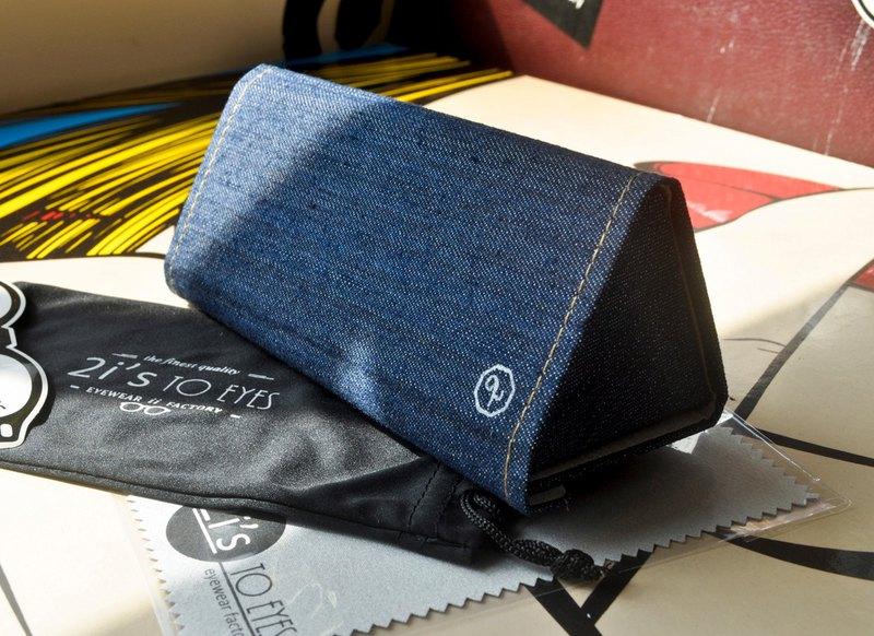 2is 可折疊眼鏡盒, 磁石開口, 三角形, 牛仔布