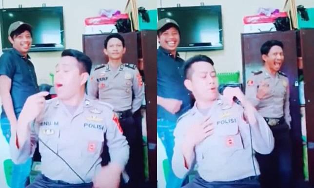 Kocak Parah, Lipsing Lagu India Lawas Lengkap Dengan Penari Latarnya, Polisi ini Jadi Viral!