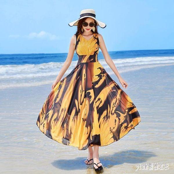 沙灘長裙 女夏季2019新款海邊度假波西米亞洋裝中長款碎花雪紡連衣裙 rj2022『pink領袖衣社』